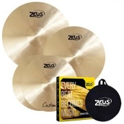 Zeus Kit de Pratos CUSTOM SET-C (Liga B20, 14'' Hi-Hat, 16'' Crash e 20'' Ride)