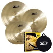 Zeus Kit de Pratos HYBRID SET-C (Liga B20, 14'' Hi-Hat, 16'' Crash e 20'' Ride)