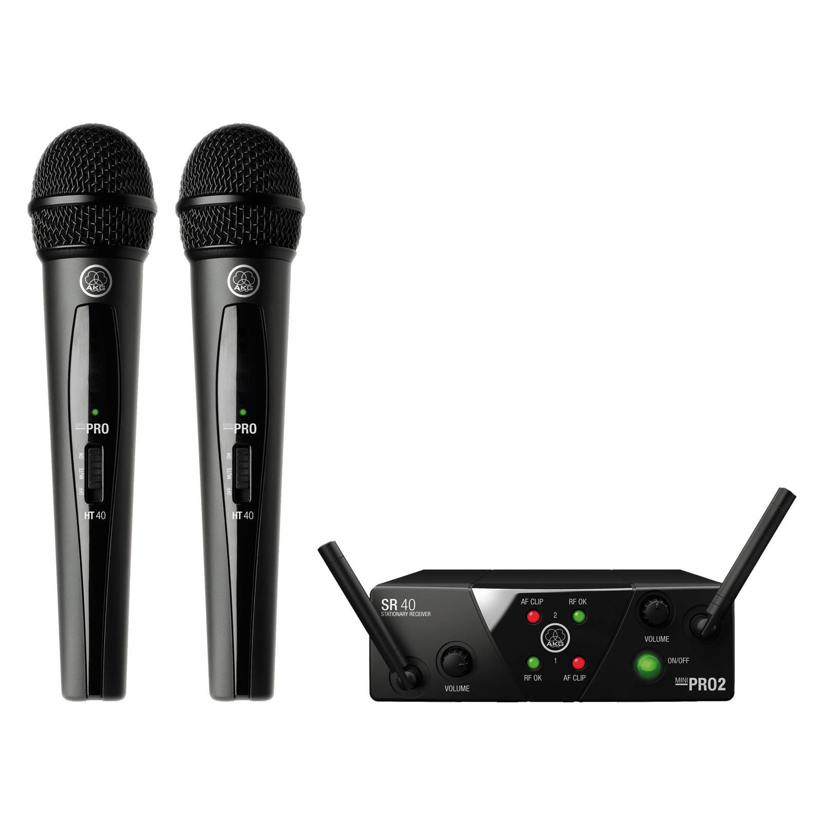 AKG Microfone Sem Fio Duplo WMS40 MINI Dual Vocal Set