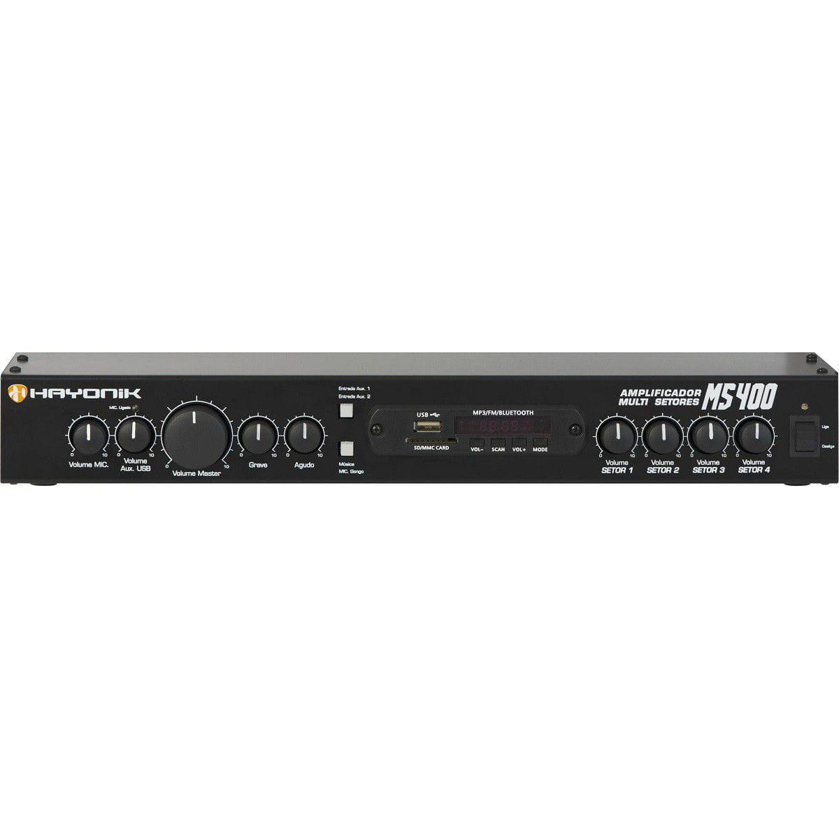 Amplificador Multi Setores Hayonik MS400 (4x10w RMS/FM/USB/SD/Bluetooth/Gongo Eletrônico)