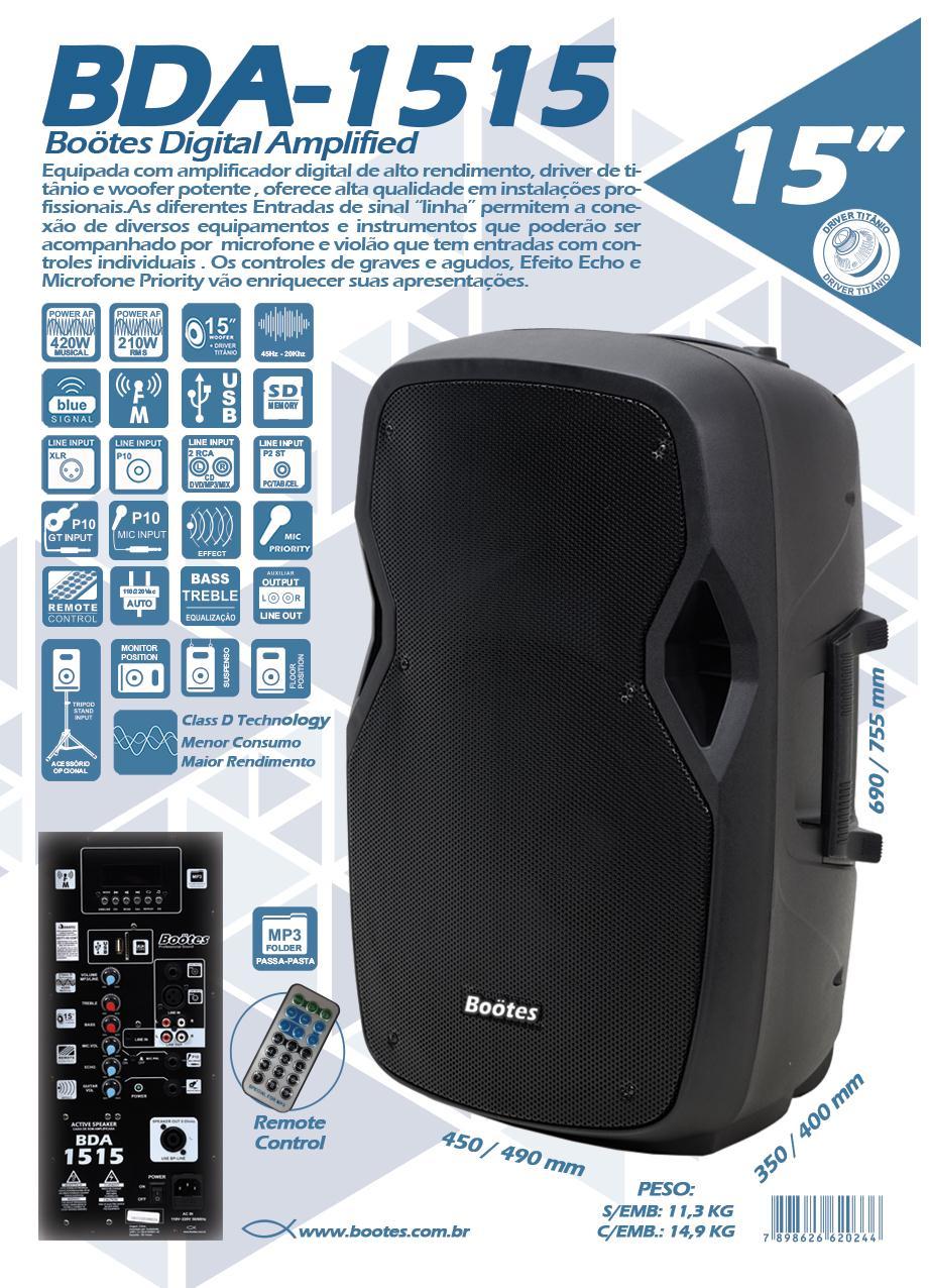 "Caixa Ativa Boötes BDA-1515 + Tripé (15""/210w RMS/USB/BT/FM/Titânio/Saída para Caixa Passiva)"
