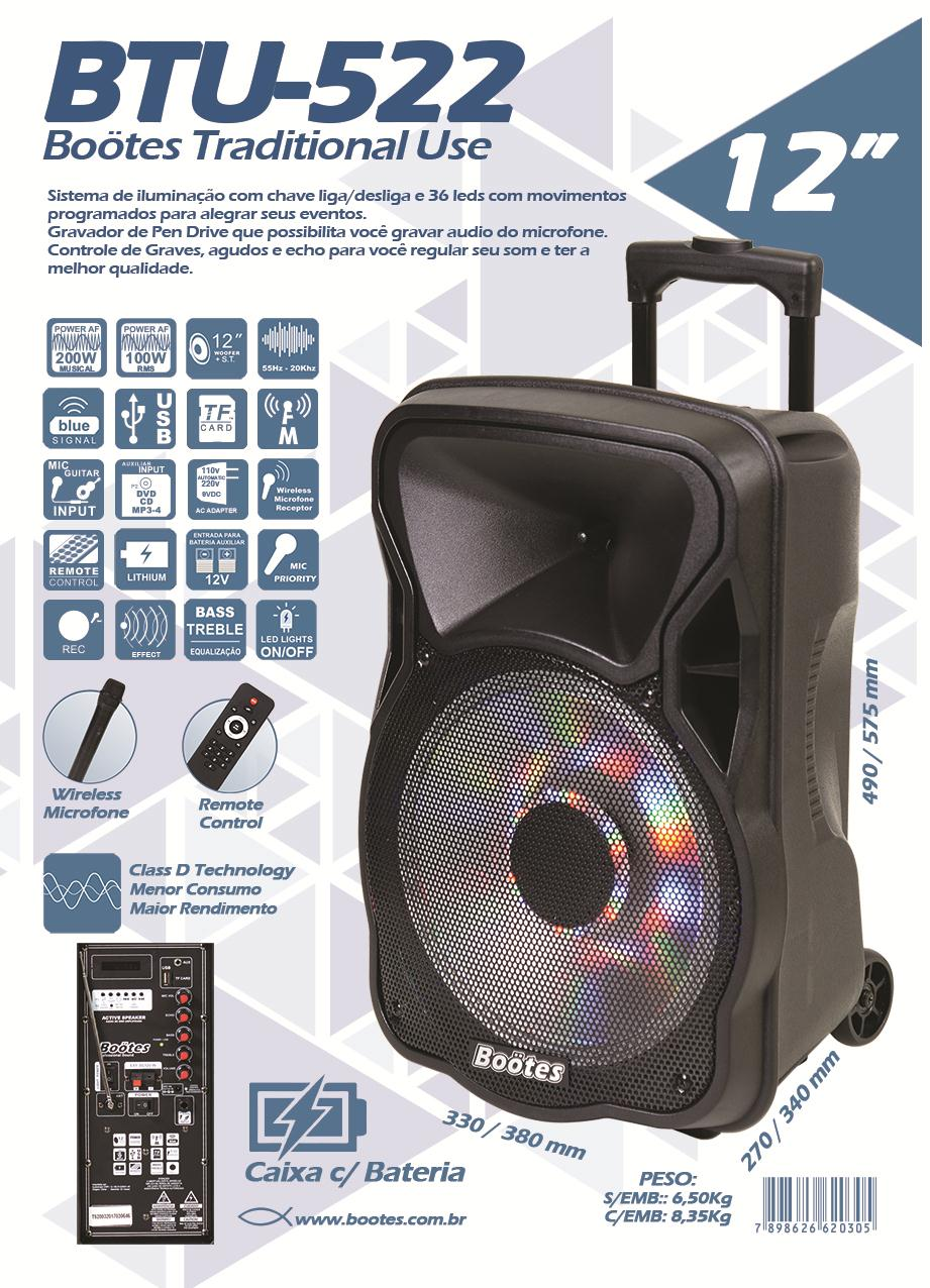 """Caixa Ativa com Bateria Boötes BTU-522 + Microfone Sem Fio (12""""/100w RMS/USB/Bluetooth/FM)"""