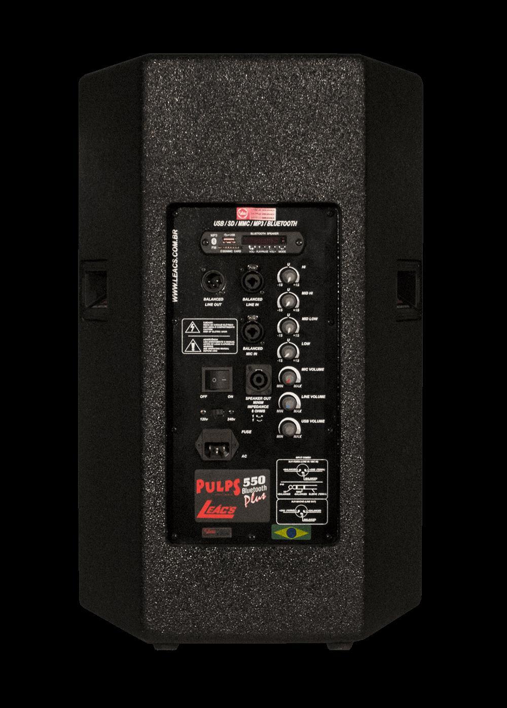 """Caixa Ativa Leacs Pulps-550 PLUS (12""""/200w RMS/USB/Bluetooth/FM/Cartão SD)"""