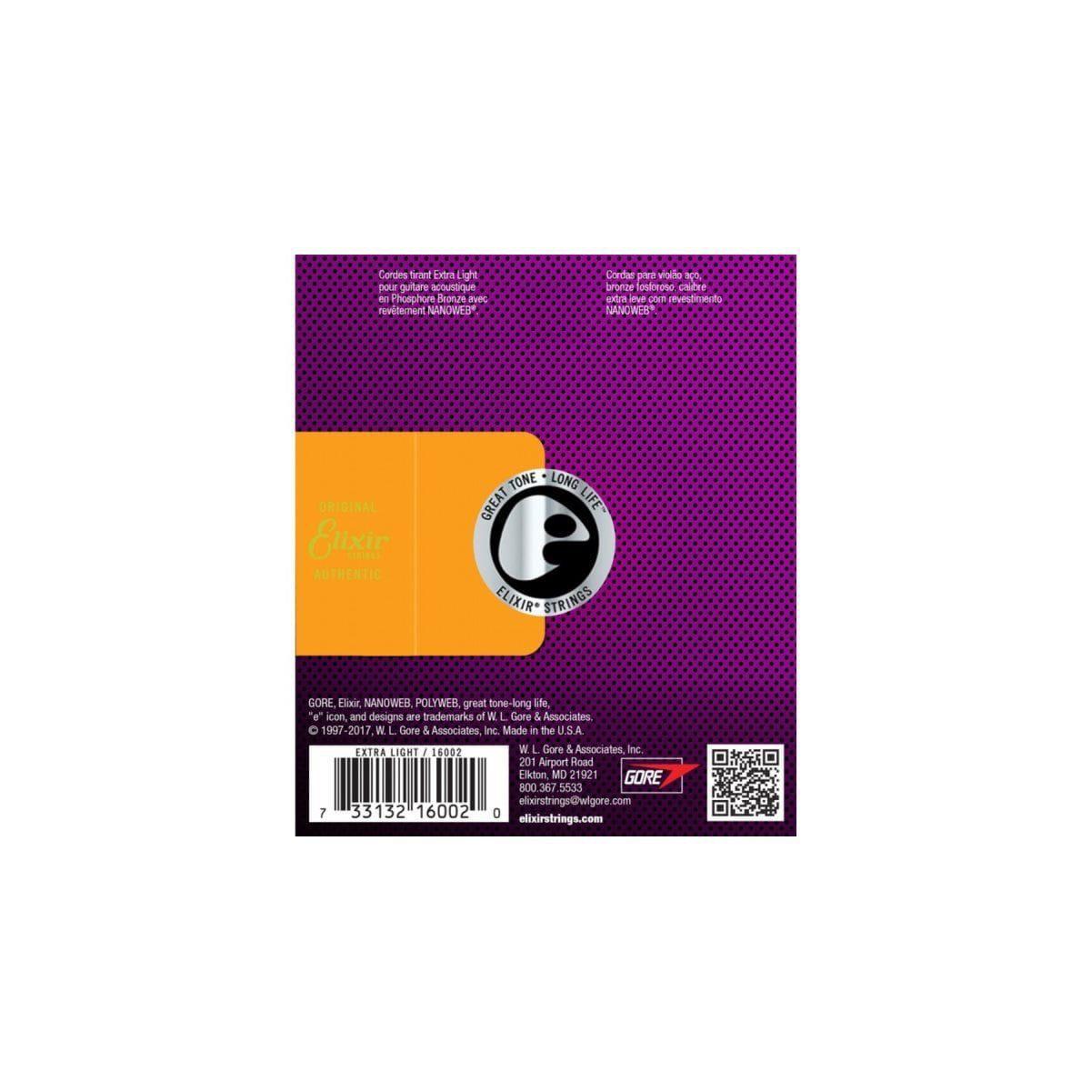 Elixir Encordoamento para Violão Aço 010-047 NANOWEB PHOSPHOR BRONZE Extra Light