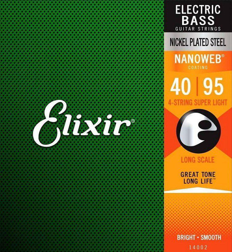 Elixir Encordoamento para Contrabaixo 4 Cordas 040-095 Nickel-Plated NANOWEB-14002