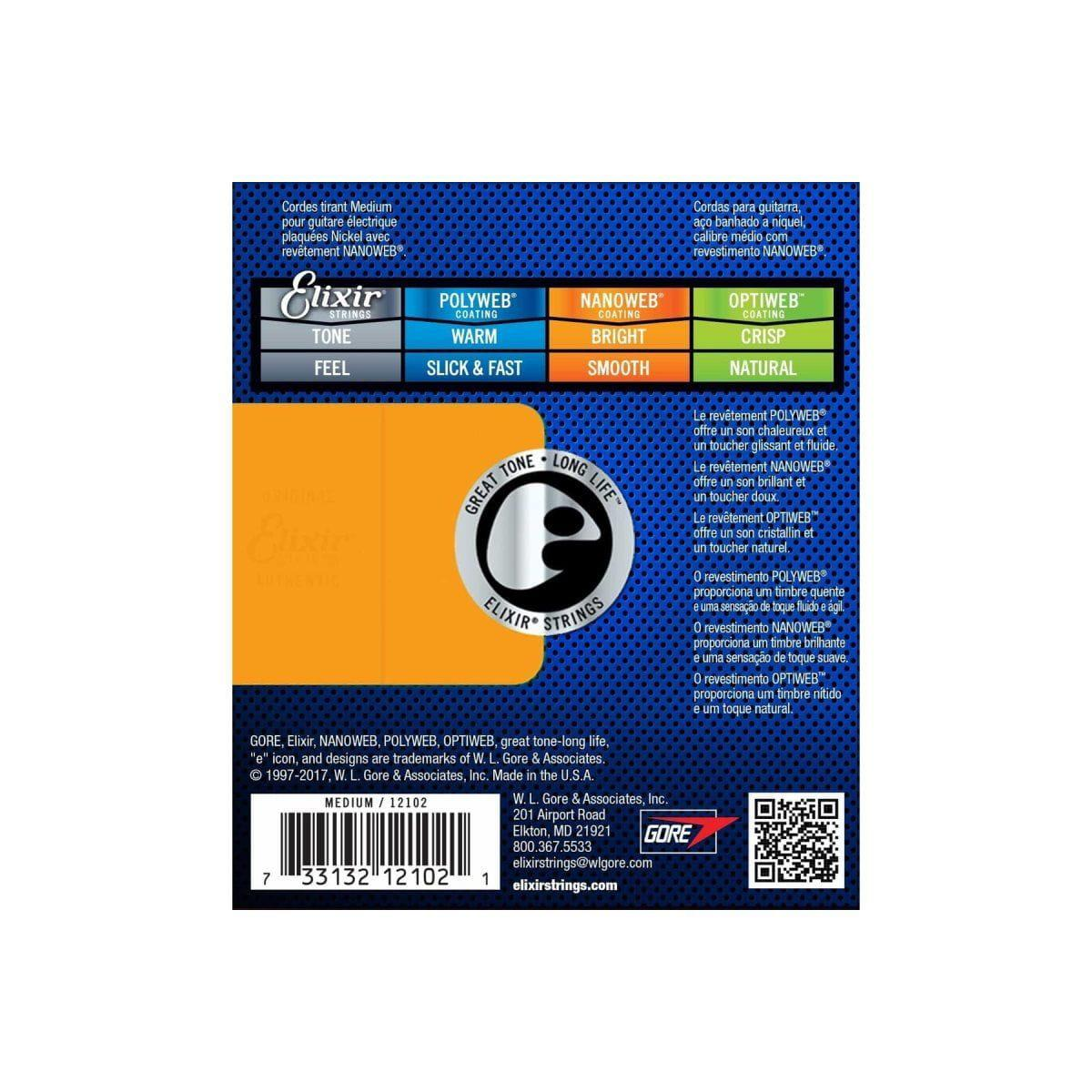 Elixir Encordoamento para Guitarra 011-049 NANOWEB Medium