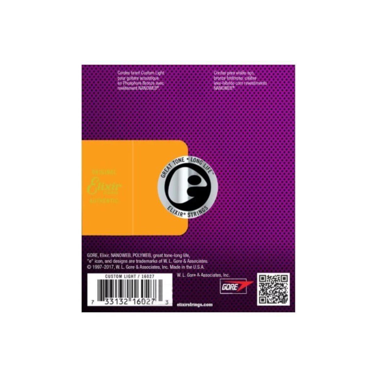 Elixir Encordoamento para Violão Aço 011-052 NANOWEB PHOSPHOR BRONZE Custom Light