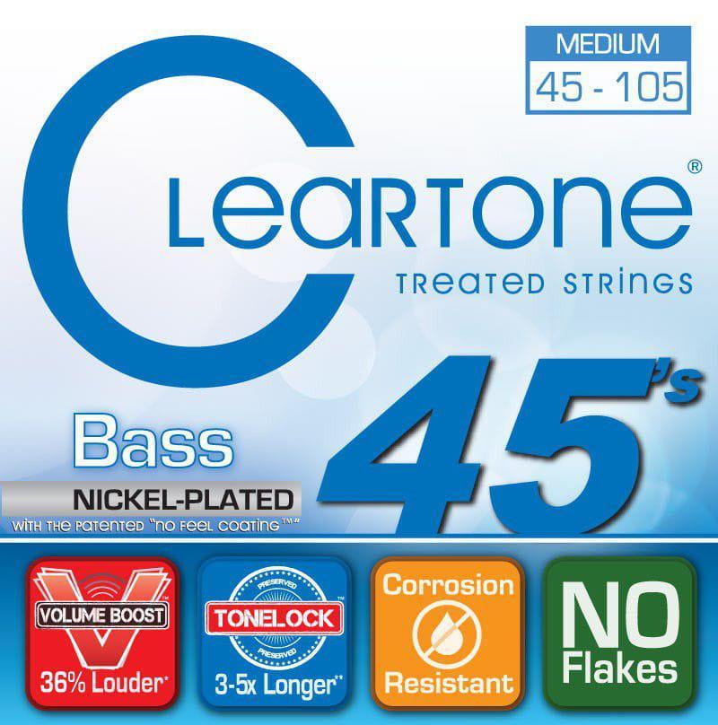 Encordoamento para Contrabaixo 4 Cordas Cleartone 045-105 Nickel-Plated