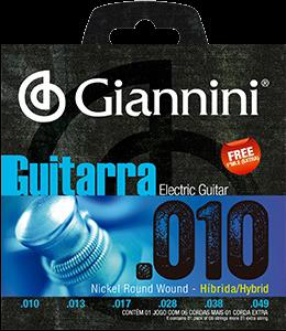 Encordoamento para Guitarra Giannini 010-049 Hybrid  ? GEEGSTH10