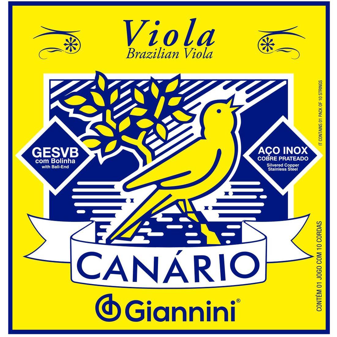 Encordoamento para Viola 10 Cordas Giannini 011-033 - Canário GESVB