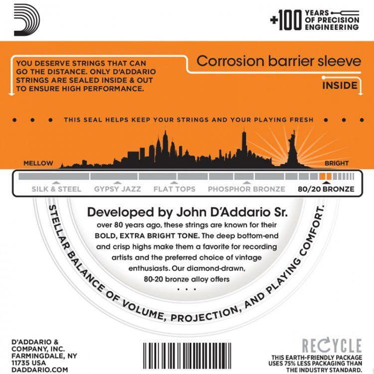 Encordoamento para Violão Aço D'Addarío 010-047 - EJ10-B (1 MI Extra)