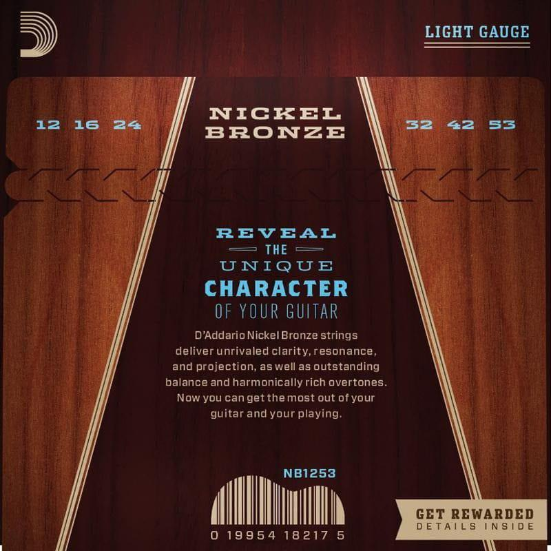 Encordoamento para Violão Aço D'Addarío 012-053 - NB 1253 (Nickel Bronze)