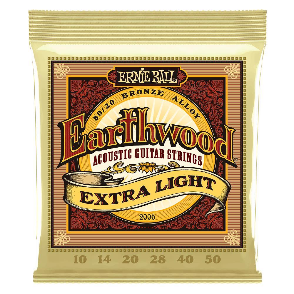 Encordoamento Para Violão Aço Ernie Ball 010-050 Earthwood Extra Light - 2006