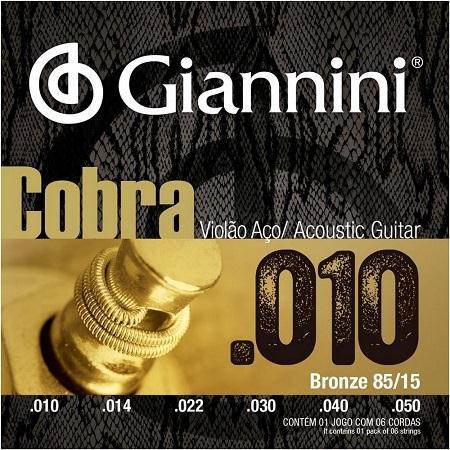 Encordoamento para Violão Aço Giannini 010-050 - Cobra GEEFLE