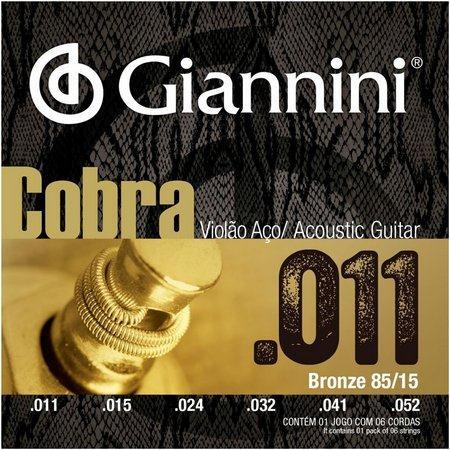 Encordoamento para Violão Aço Giannini 011-052 - Cobra GEEFLK