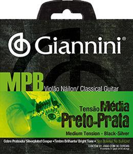 Encordoamento para Violão Nylon Giannini - GENWBS Preto/Prata (Tensão Média)