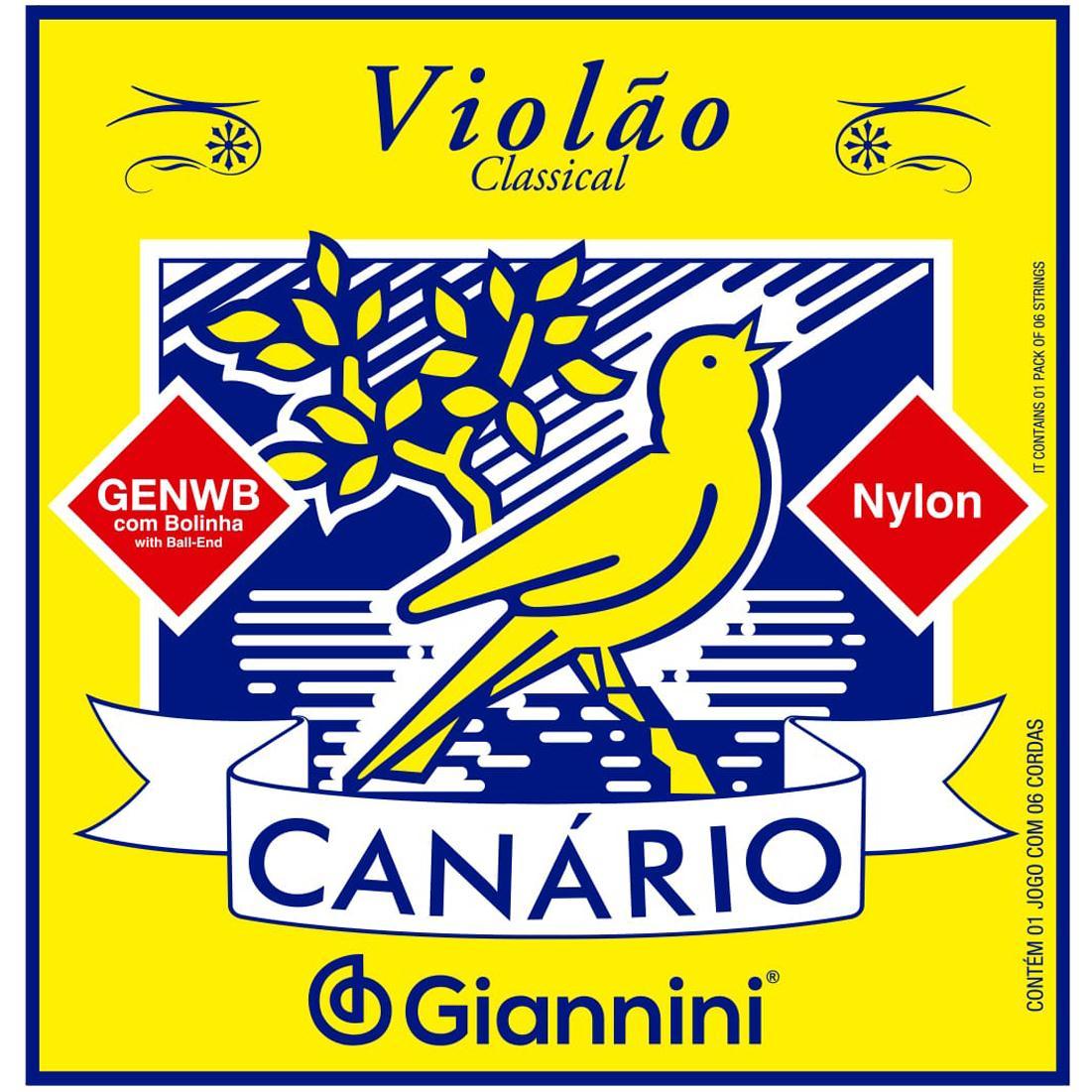 Encordoamento para Violão Nylon Giannini - Canário GENWB (Tensão Média)