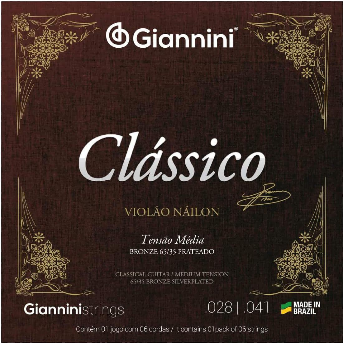 Encordoamento para Violão Nylon Giannini - GENWPM (Tensão Média)