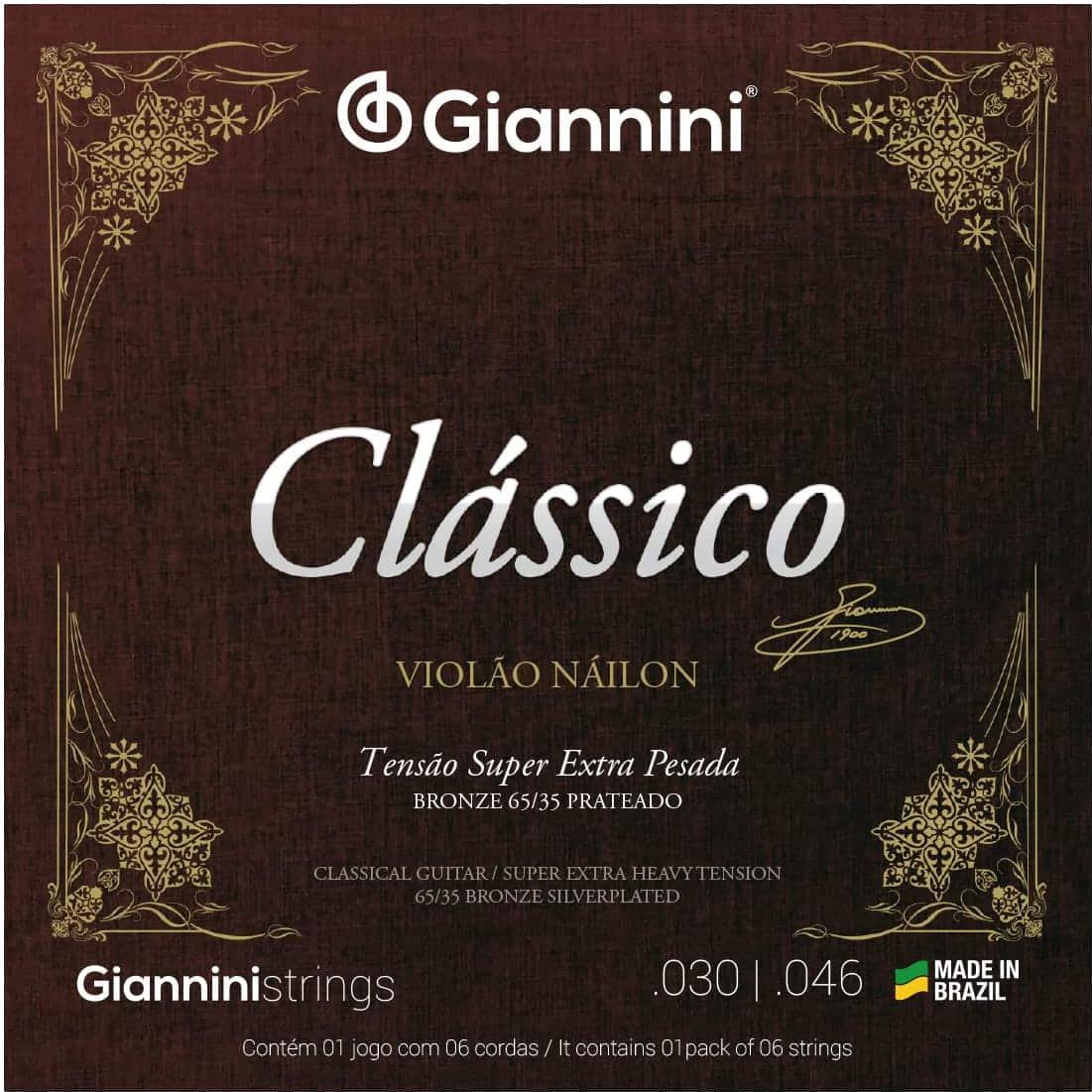 Encordoamento para Violão Nylon Giannini - GENWSXPA (Tensão Super Extra Alta)