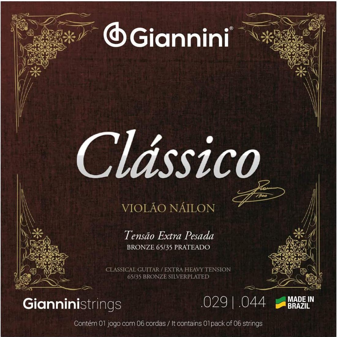 Encordoamento para Violão Nylon Giannini - GENWXPA (Tensão Extra Alta)