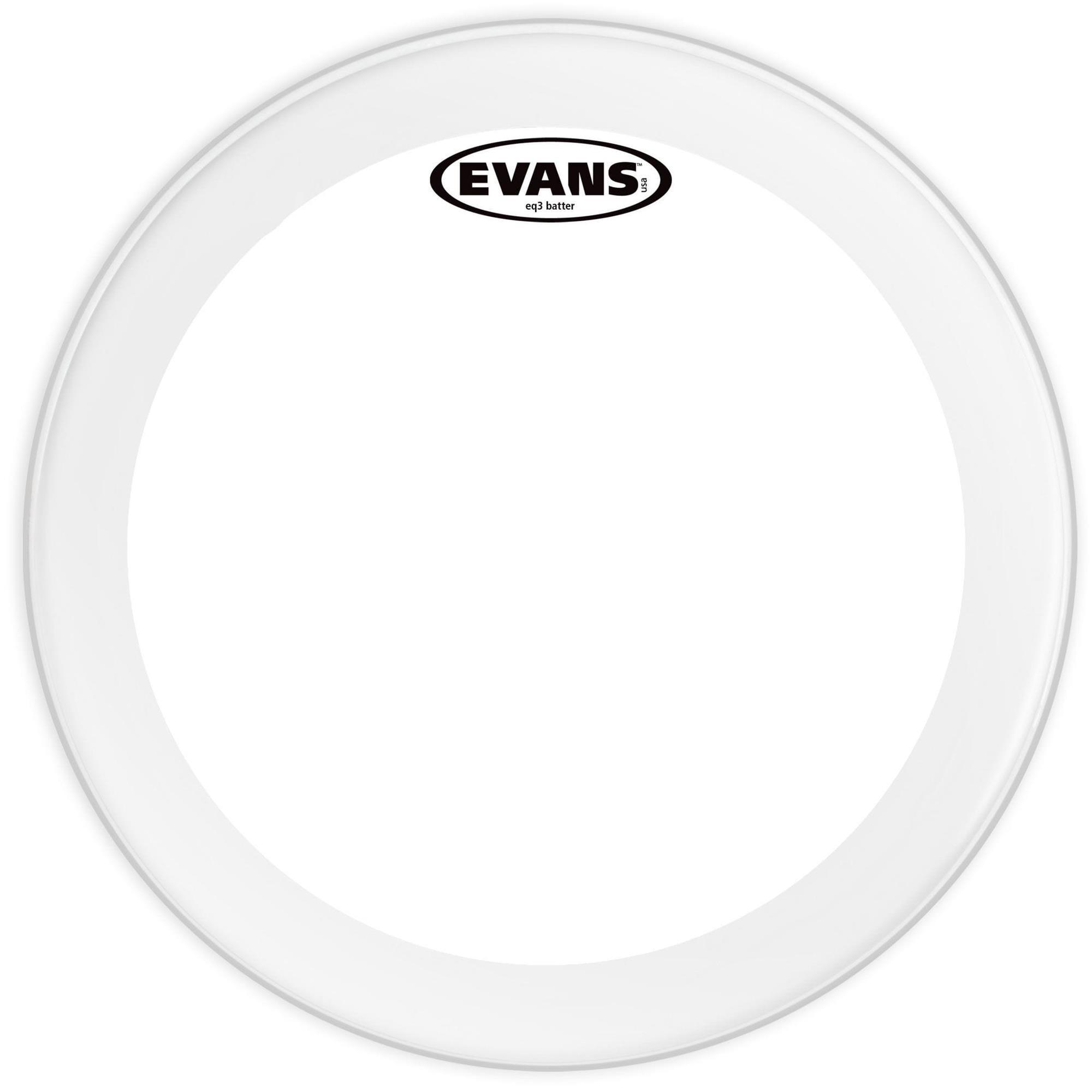 "Evans Pele para Bumbo 22"" EQ3 Batter Clear Transparente BD22GB3"