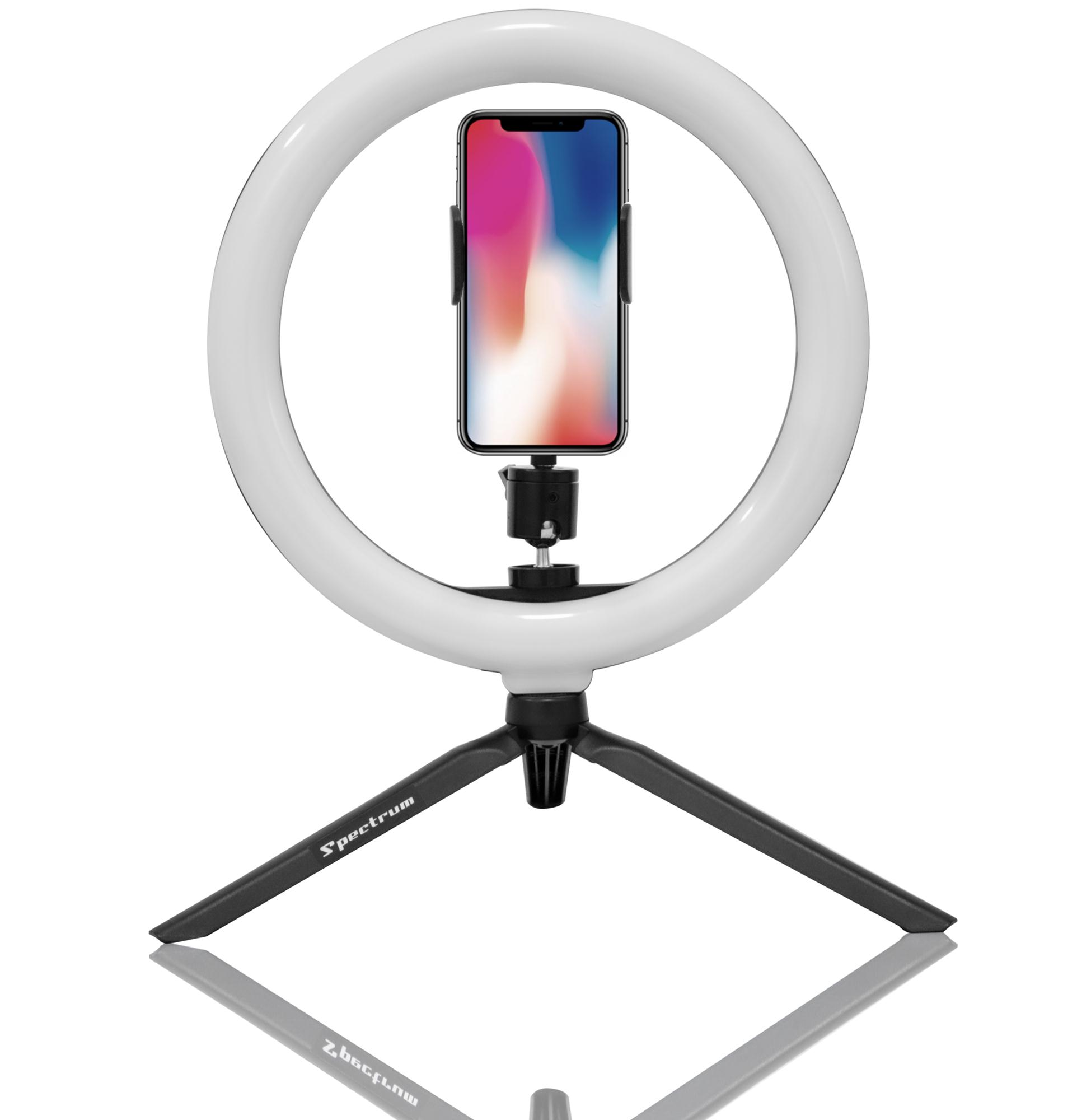 "Iluminador Ring Light 10"" Spectrum SP26LED DECK com Tripé Mesa"