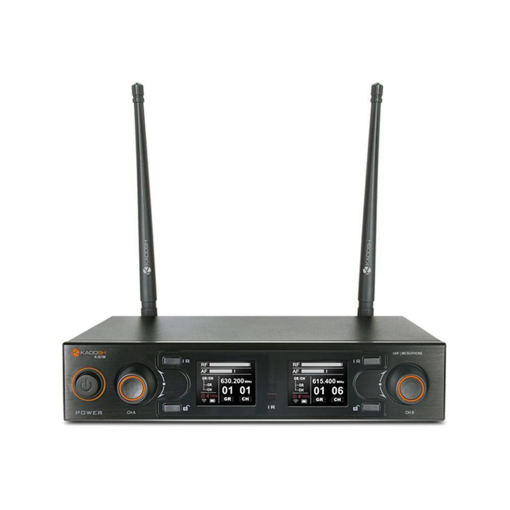 Kadosh Microfone Sem Fio Duplo K-502M (UHF/Display Digital/Bateria de Lithium)