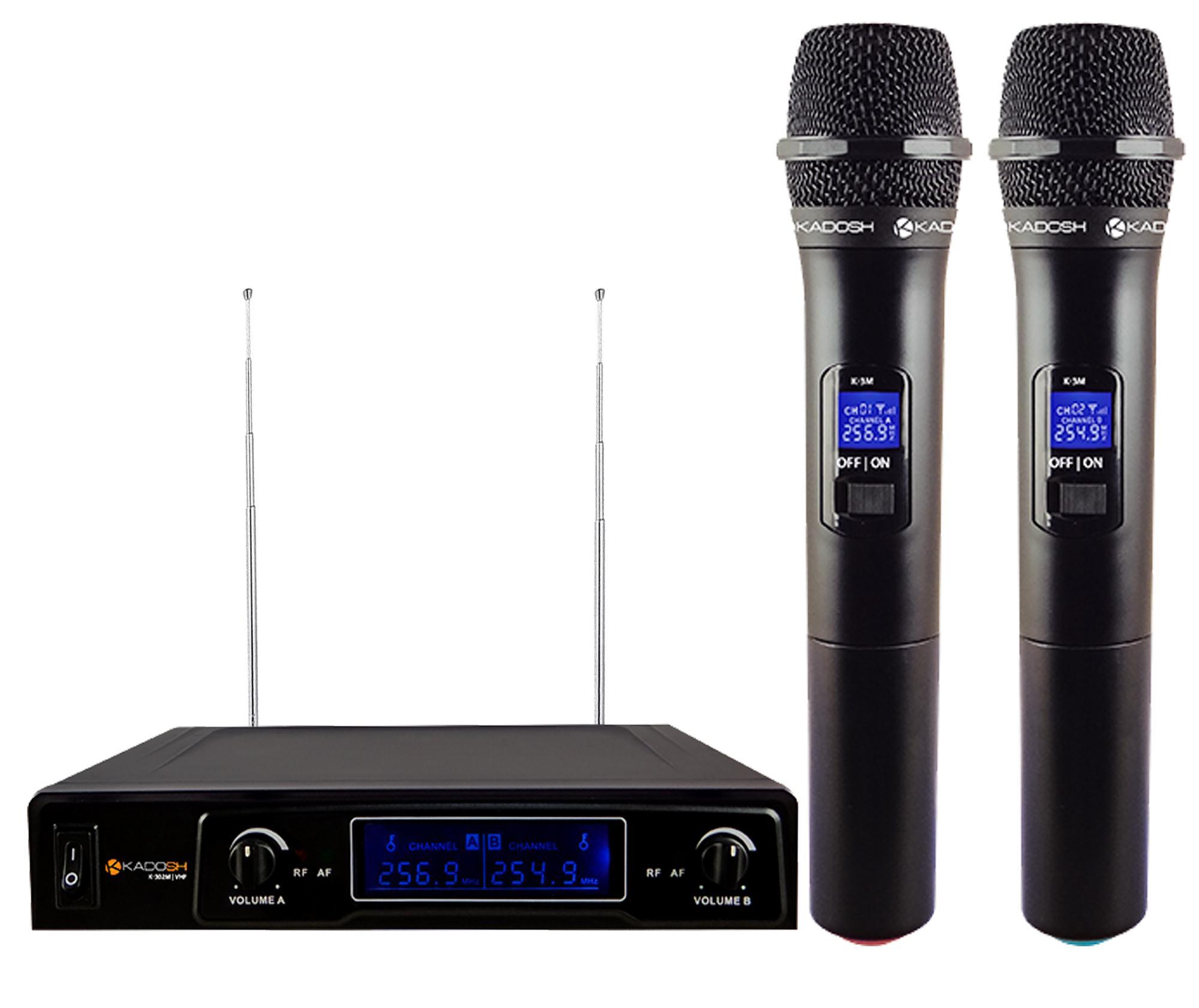 Kadosh Microfone Sem Fio Duplo K-302M (VHF/Display Digital)