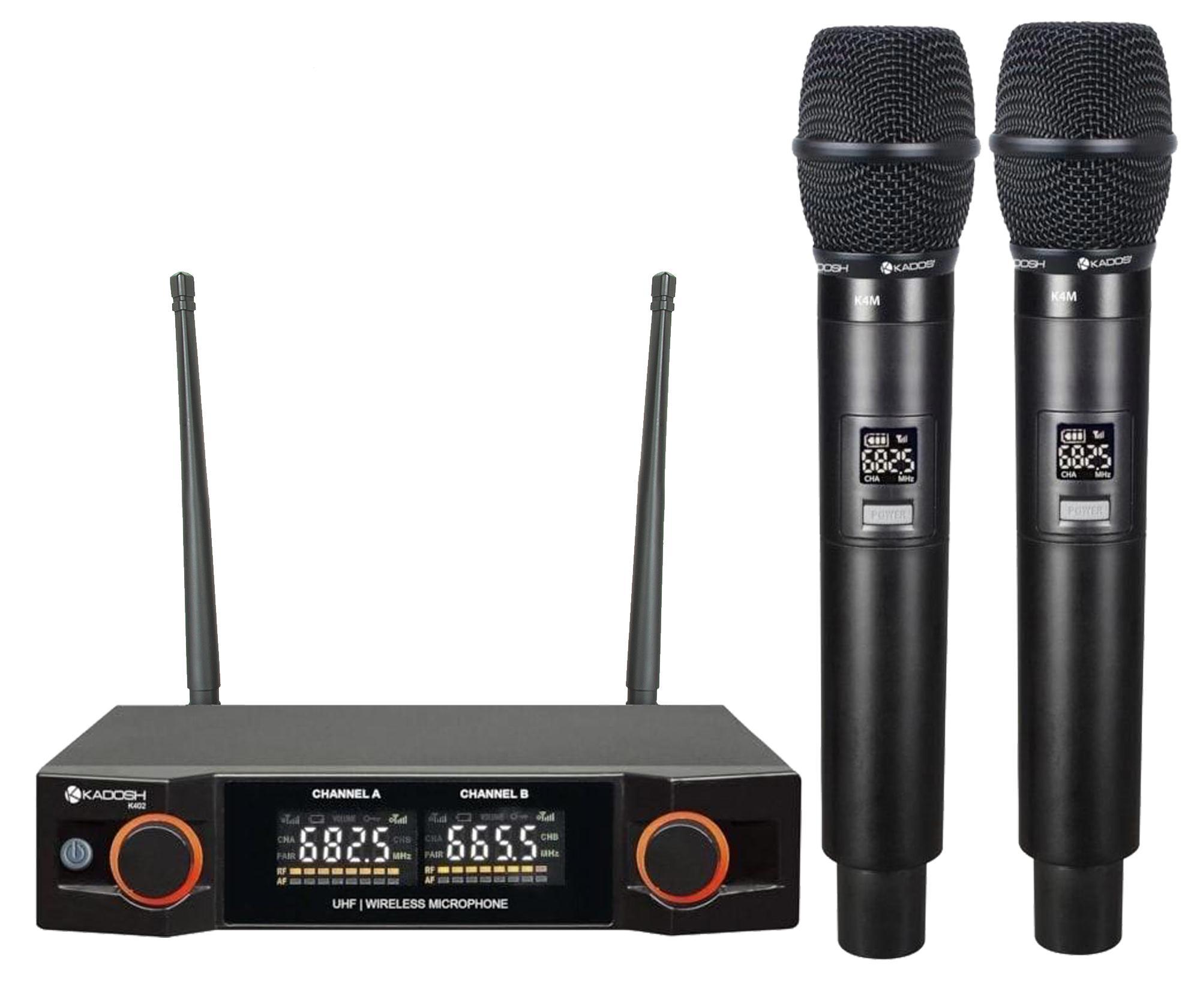 Kadosh Microfone Sem Fio Duplo K-402M (UHF/Display Digital com 48 Canais)