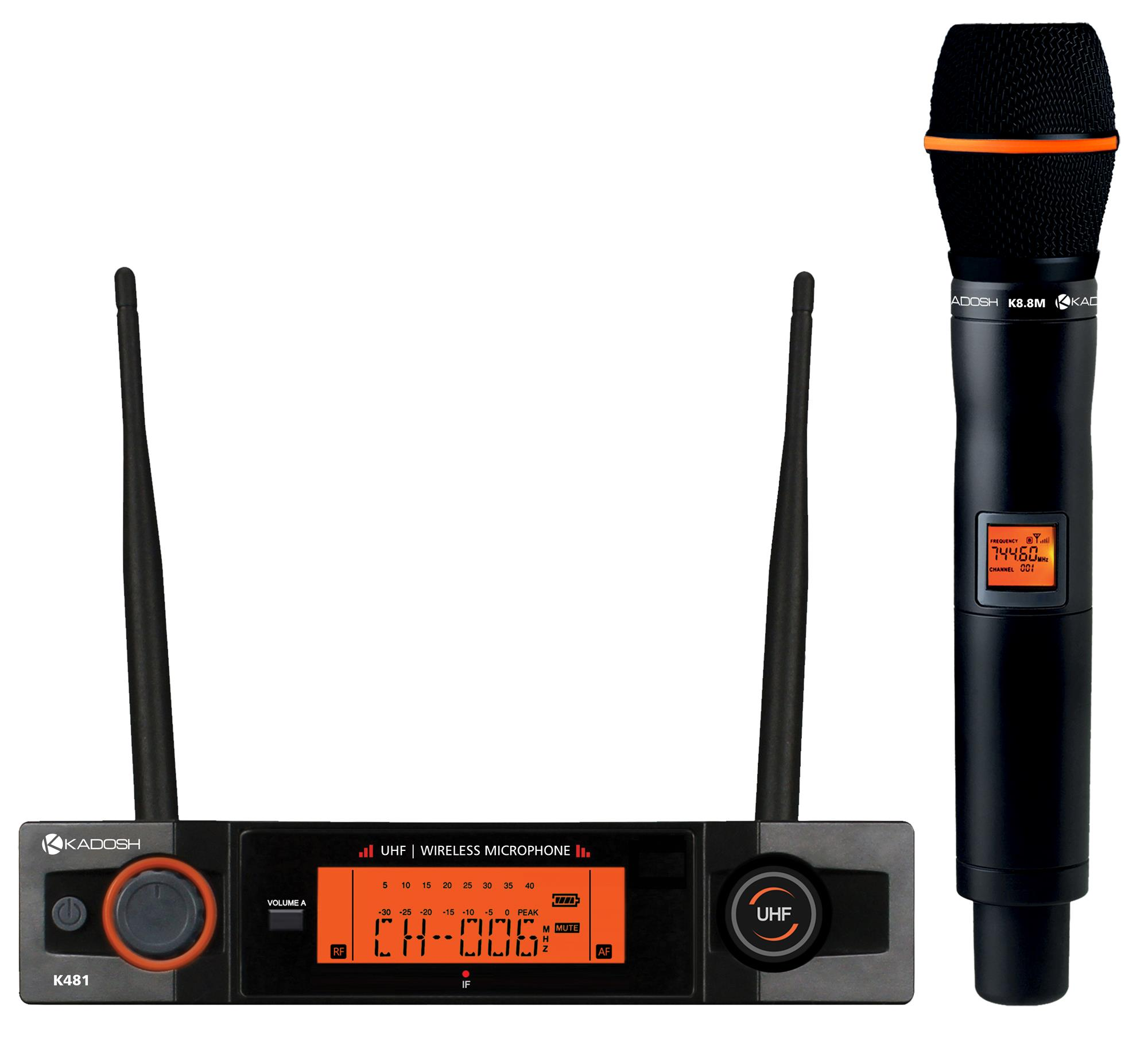 Kadosh Microfone Sem Fio K-481M (UHF/Display Digital com 50 Canais)