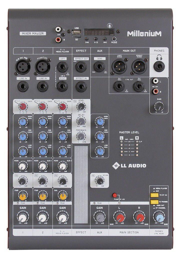 LL Audio Mixer Millenium MX402R (4 Canais/USB/Cartão SD/Bluetooth)