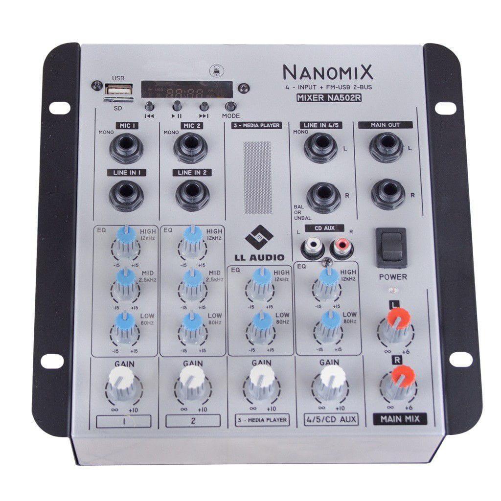 LL Audio Mixer Nanomix NA502R BT (4 Canais/USB/Cartão SD/Bluetooth/FM)