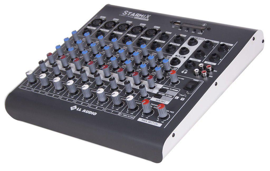 LL Audio Mixer Starmix XMS802R (8 Canais/USB/Cartão SD/Bluetooth/Rádio FM)