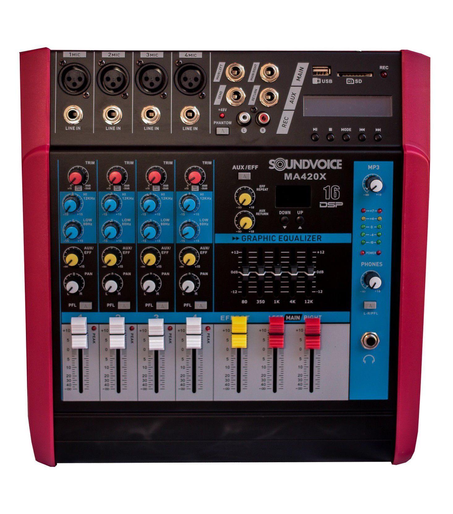 Mixer Amplificada Soundvoice MA420X (4 Canais/400w/MP3/USB/SD)