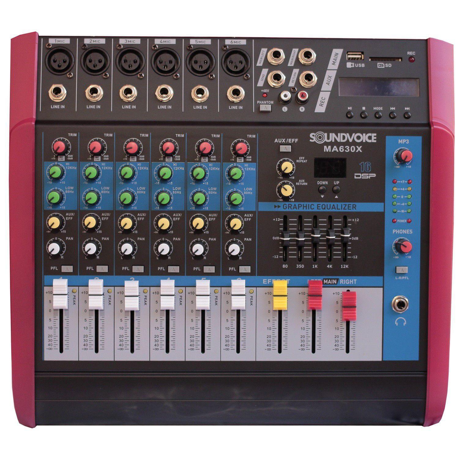 Mixer Amplificada Soundvoice MA630X (6 Canais/500w/MP3/USB/SD)