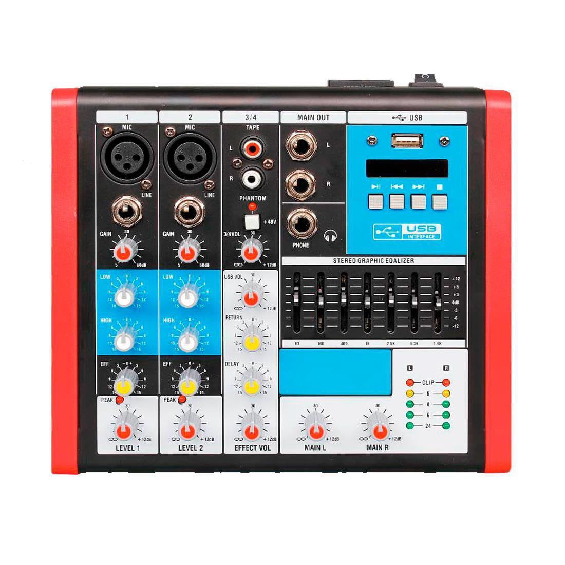 Mixer Compacta Soundvoice MC4EUX (4 Canais/Efeito/Equalizador/USB)