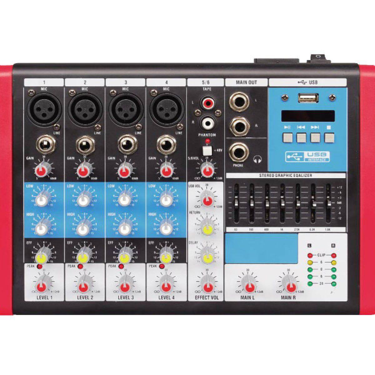 Mixer Compacta Soundvoice MC6EUX (6 Canais/Efeito/Equalizador/USB)