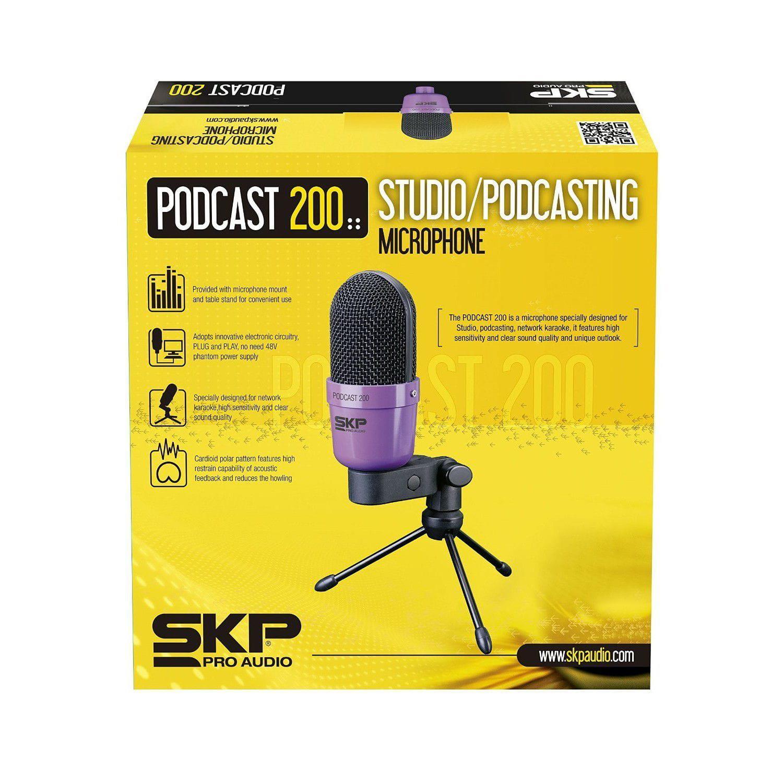 Microfone Condensador SKP PODCAST-200 (Conector XLR/P2)