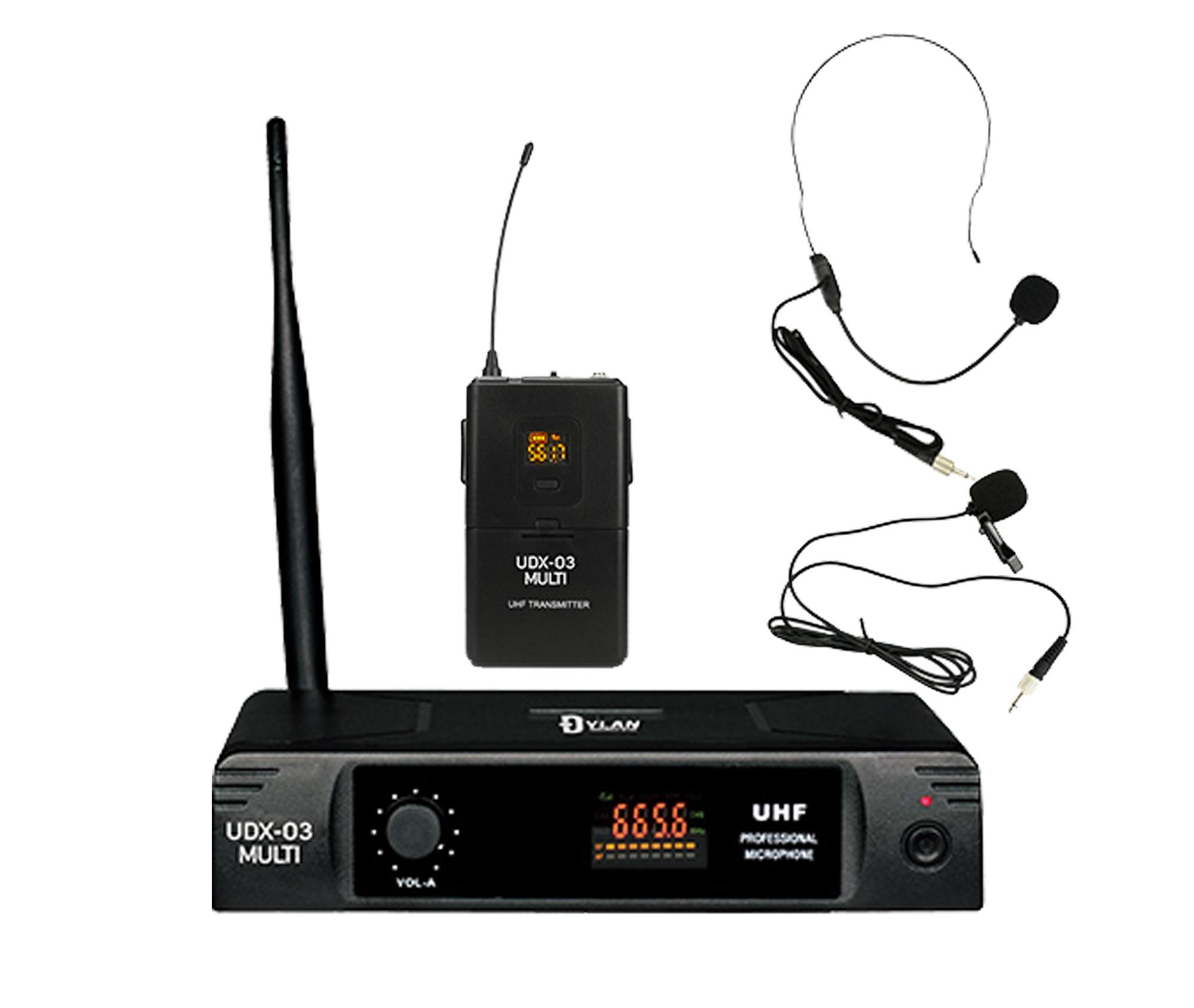 Microfone Headset / Lapela Sem Fio Dylan UDX-03 MULTI (UHF/Display Digital com 30 Canais)