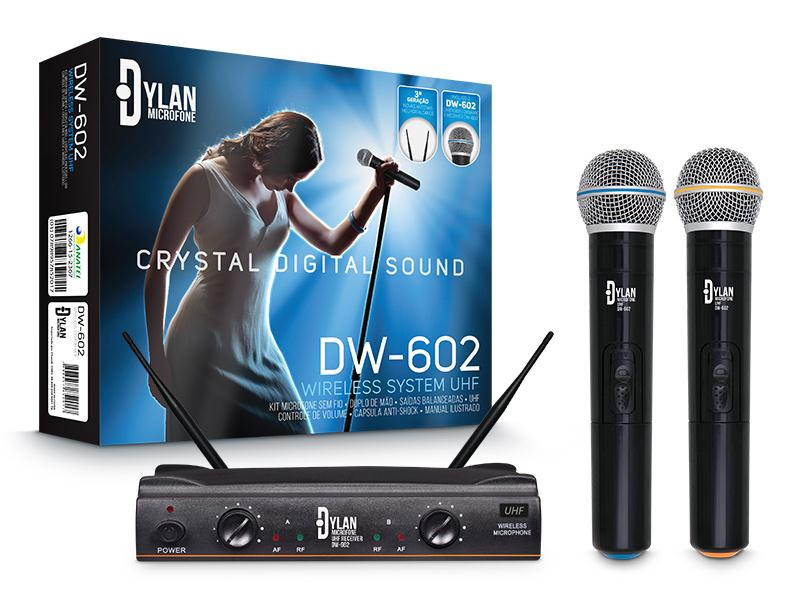 Microfone Sem Fio Duplo Dylan DW-602 (UHF)
