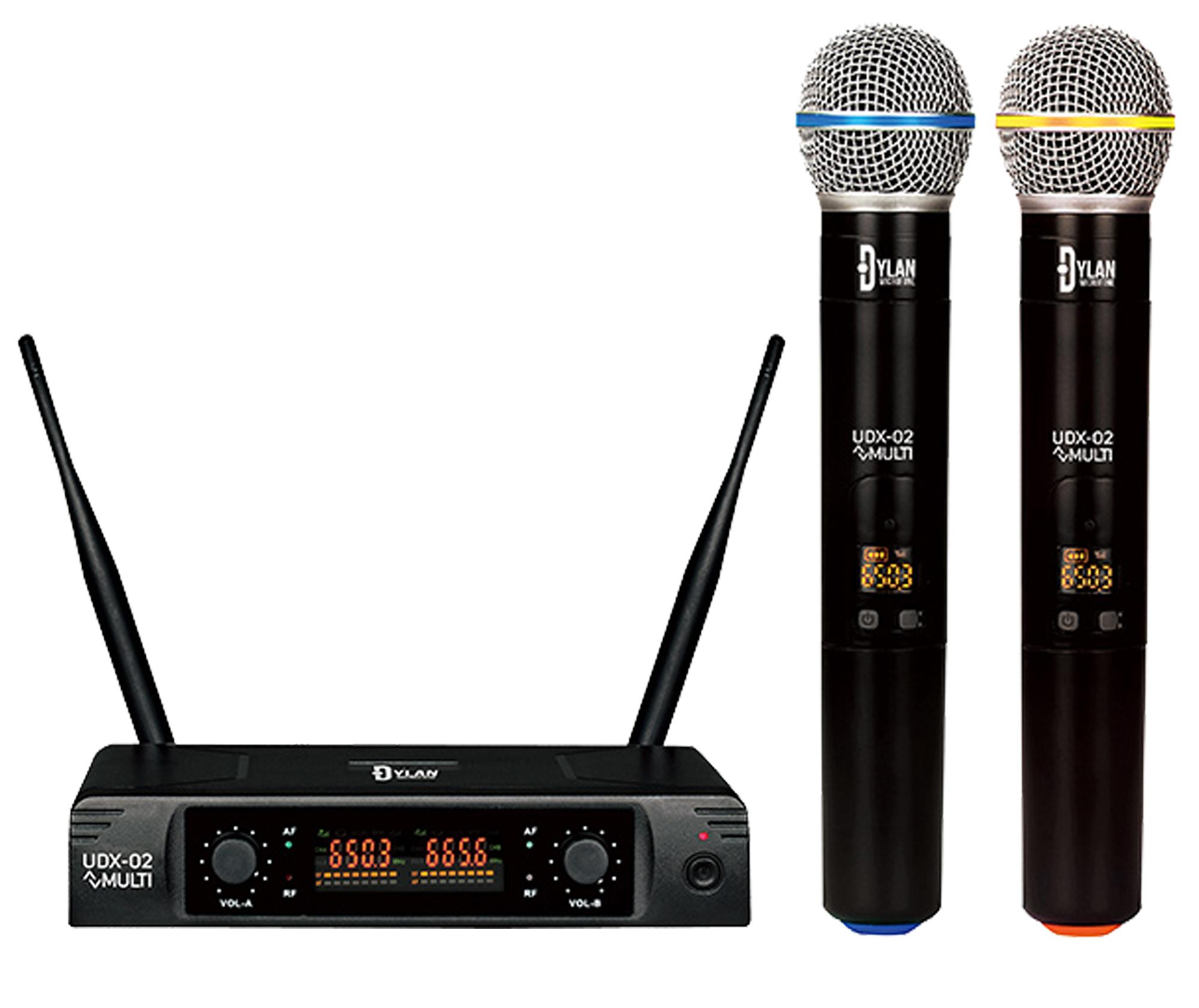 Microfone Sem Fio Duplo Dylan UDX-02 MULTI (UHF/Display Digital com 30 Canais)
