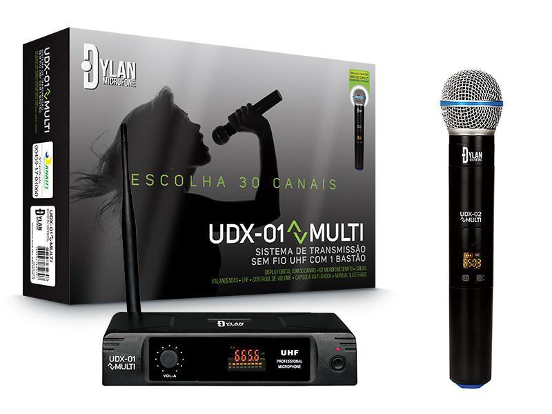 Microfone Sem Fio Dylan UDX-01 MULTI (UHF/Display Digital com 30 Canais)
