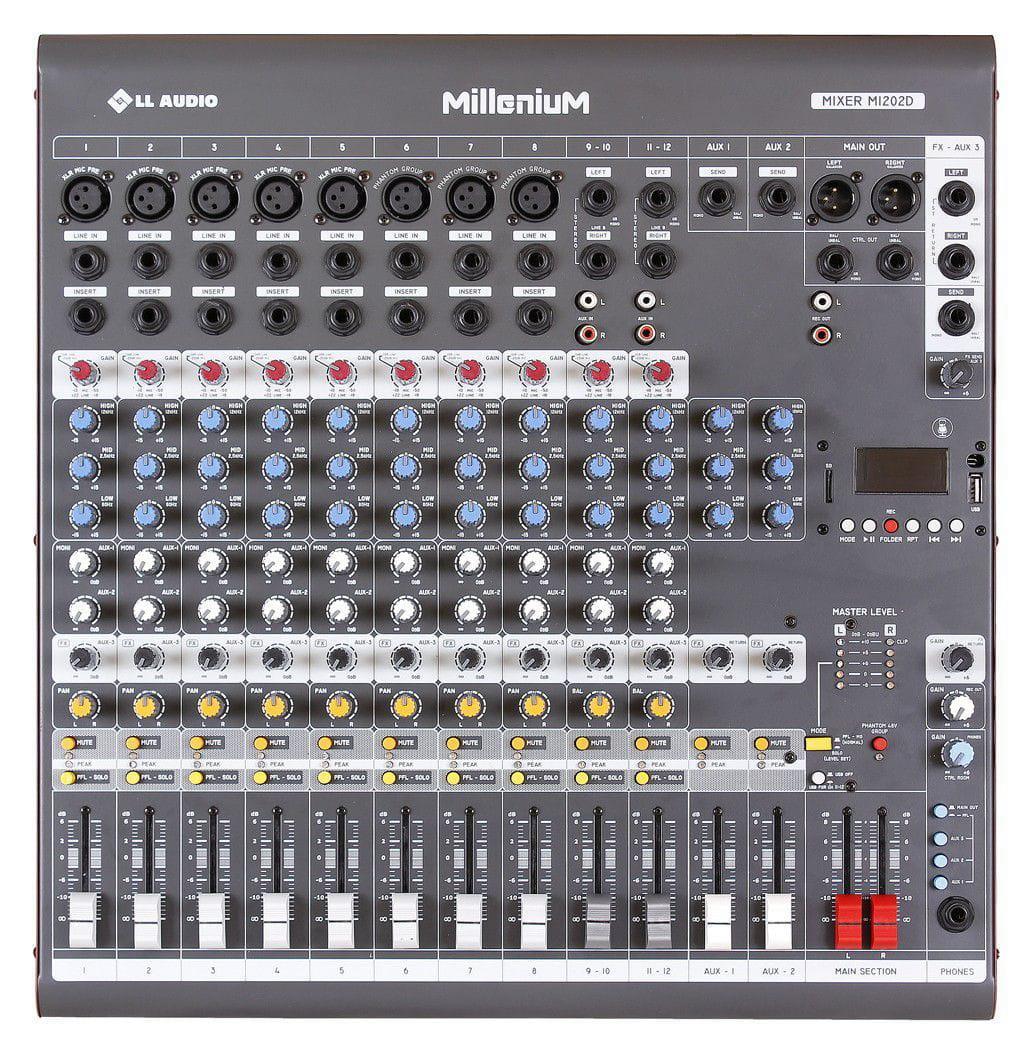 Mixer LL Audio Millenium M1202D (12 Canais/3 Auxiliares/USB/Cartão SD/Bluetooth)