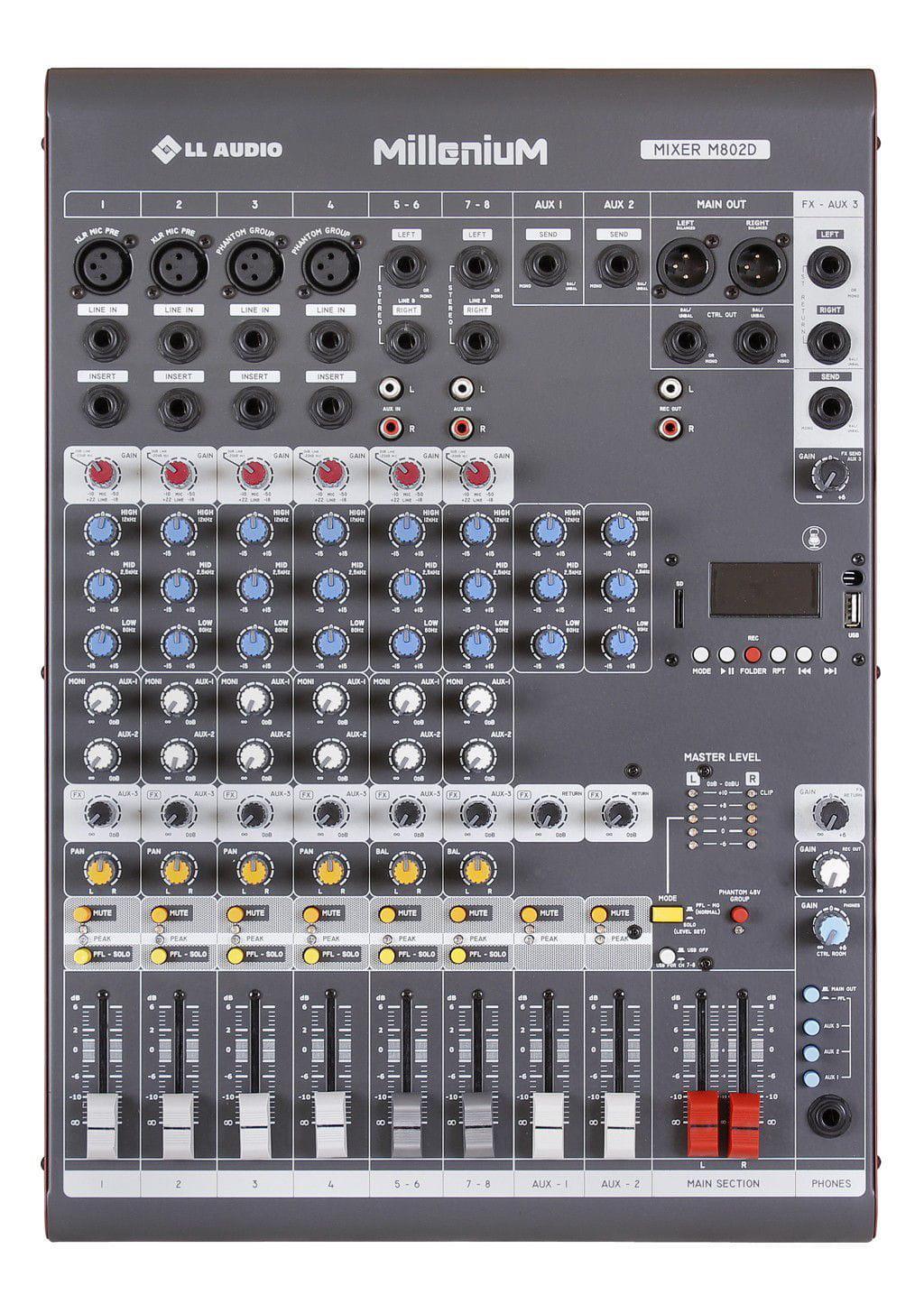 Mixer LL Audio Millenium M802D (8 Canais/3 Auxiliares/USB/Cartão SD/Bluetooth)