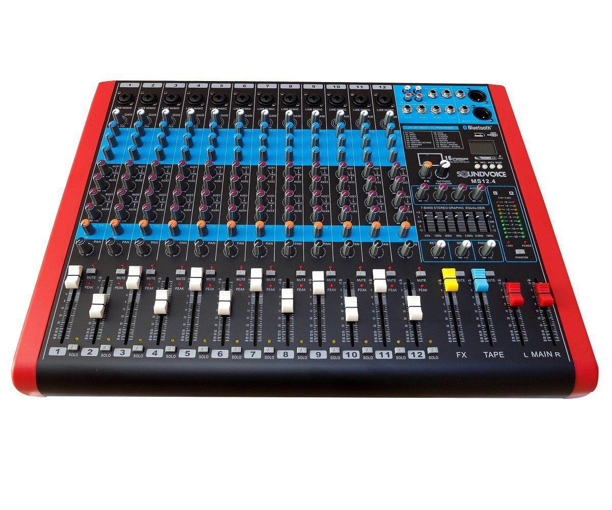 Mixer Soundvoice MS-12.4 EUX (12 Canais Combo/USB/Bluetooth/Equalizador 7 Bandas/04 Auxiliares)
