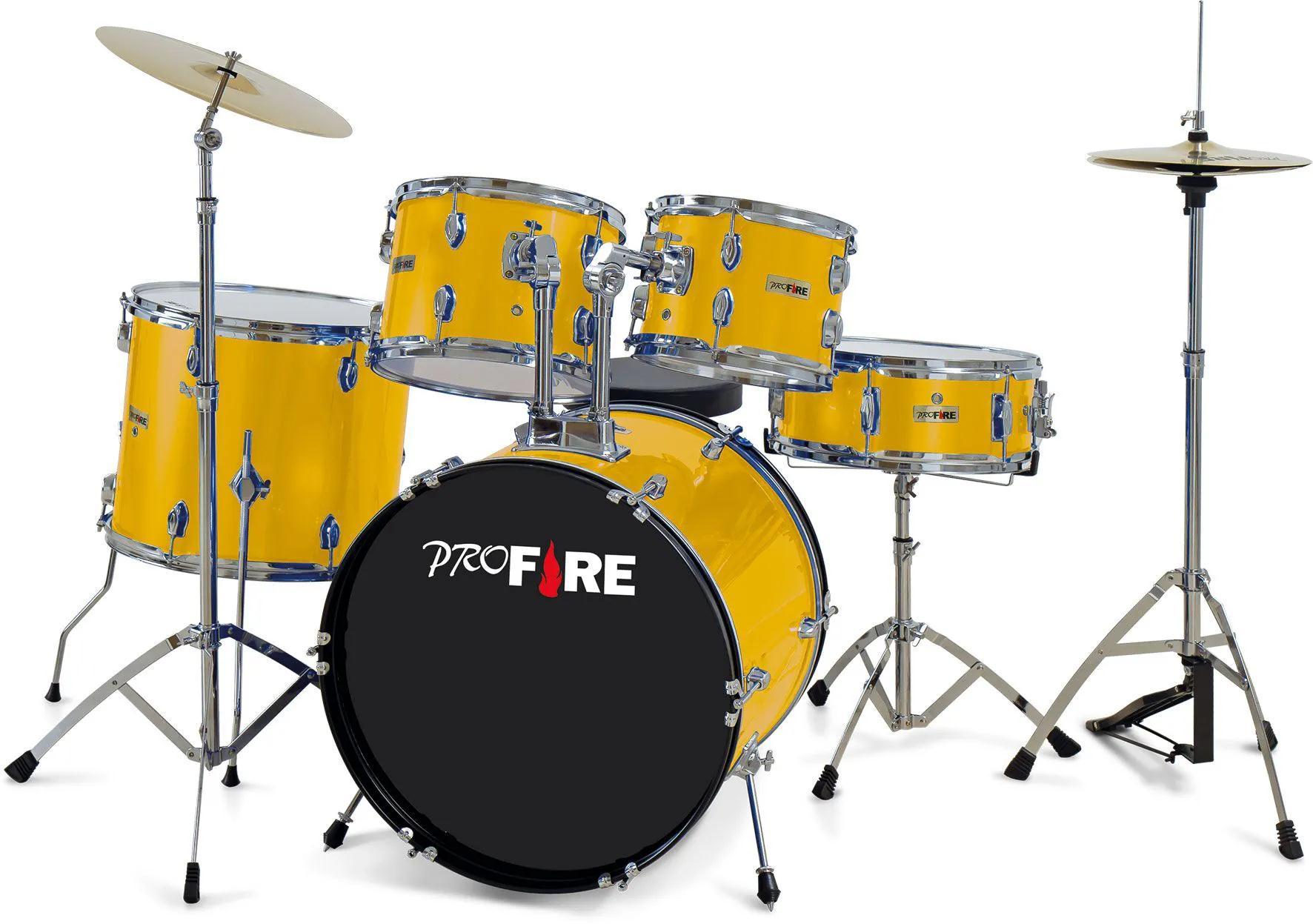Pro Fire Bateria Acústica Amarela (Bumbo 20''/Completa)