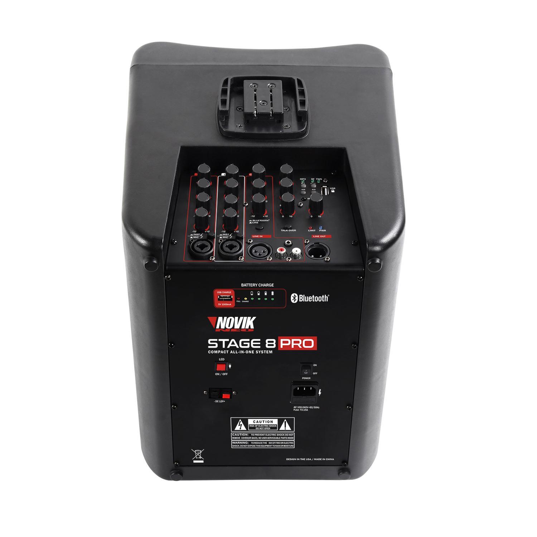Sistema de P.A Portátil Novik STAGE8 PRO (400w RMS/Mixer 4 Canais/Bateria Recarregável)