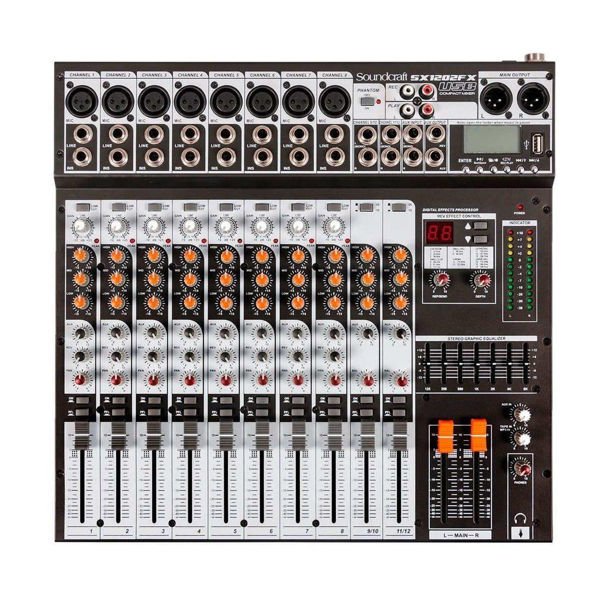 Soundcraft Mixer SX1202FX-USB (12 Canais/Efeitos/Equalizador 7 Bandas)
