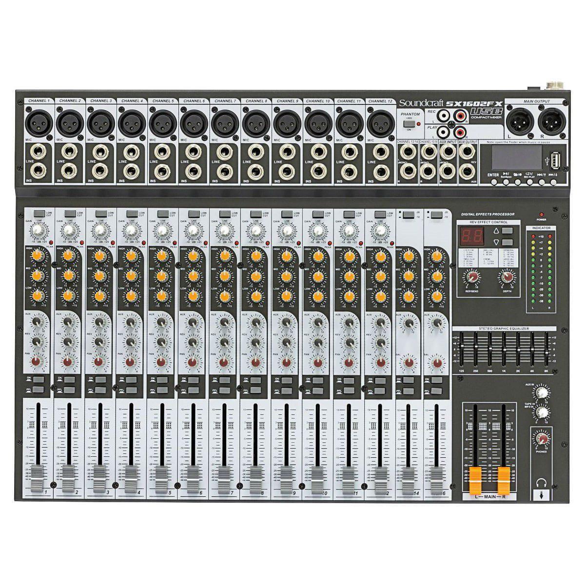 Soundcraft Mixer SX1602FX-USB (16 Canais/Efeitos/Equalizador 7 Bandas)