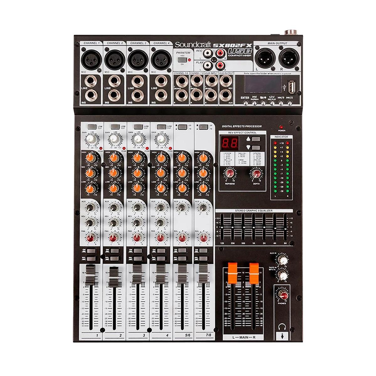 Soundcraft Mixer SX802FX-USB (8 Canais/Efeitos/Equalizador 7 Bandas)